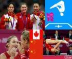 Podio gimnasia en trampolín femenino, Rosannagh Maclennan (Canadá), Huang Shanshan y He Wenna (China) - Londres 2012 -