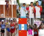Podio atletismo 20 km marcha masculino, Ding Chen (China), Erick Barrondo (Guatemala) y Wang Zhen (China) - Londres 2012 -