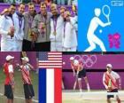 Podio tenis dobles masculino, Bob Bryan, Mike Bryan (Estados Unidos),  Michael Llodra, Jo-Wilfried Tsonga y Julien Benneteau, Richard Gasquet (Francia) - Londres 2012 -