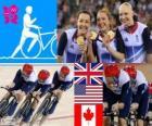Podio ciclismo de pista persecución por equipos 4000 m femenino, Reino Unido, Estados Unidos y Canadá - Londres 2012 -