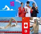 Podio natación 1500 metros estilo libre masculino, Sun Yang (China), Ryan Cochrane (Canadá) y Oussama Mellouli (Túnez) - Londres 2012 -