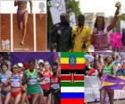 Podio atletismo maratón femenino, Tiki Gelana (Etiopía), Priscah Jeptoo (Kenia) y Tatiana Petrova Arjipova (Rusia), Londres 2012