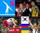 Podio gimnasia artística salto de potro masculino, Yang Hak-Seon (Corea del Sur), Denis Abliazin (Rusia) y Igor Radivilov (Ucrania), Londres 2012