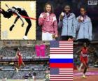 Podio atletismo salto de longitud femenino, Brittney Reese (Estados Unidos), Elena Sokolova (Rusia) y Janay Deloach (Estados Unidos), Londres 2012