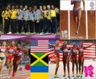 Podio atletismo 4 x 100 m femenino, Estados Unidos, Jamaica y Ucrania, Londres 2012
