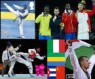 Podio taekwondo más de 80 kg masculino, Carlo Molfetta (Italia), Anthony Obame (Gabón), Robelis Despaigne (Cuba) y Liu Xiaobo (China), Londres 2012