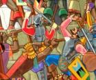 Guerreros Inca luchando