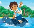 Diego en el mar sobre el caparazón de una gran tortuga marina