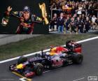 Sebastian Vettel celebra su victoria en el Gran Premio de Corea del Sur 2012