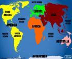 Mapamundi con la representación de los continentes
