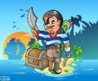 Pirata con cofre del tesoro