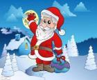 Santa Claus en un paisaje nevado