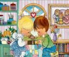 Niña y niño rezando. Precious Moments