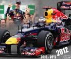 Sebastian Vettel, campeón mundial de F1 2012 con Red Bull Racing, es el tricampeón más joven