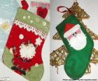Calcetines navideños decorados con Papá Noel