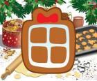 Galleta con la forma de un regalo de Navidad