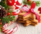 Bastón de caramelo y galletas para navidad