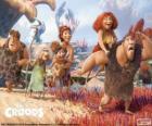 Los seis miembros de la familia Croods