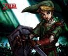 Link con la espada y el escudo en las aventuras del vídeojuego La Leyenda de Zelda