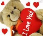Osito de peluche con corazones para el día de los enamorados