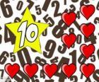Número 10 dentro de una estrella con diez corazones