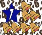 Número 7 dentro de una estrella con siete campanas
