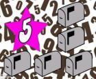 Número 5 dentro de una estrella con cinco buzones
