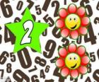 Número 2 dentro de una estrella con dos flores