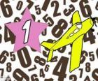 Número 1 dentro de una estrella con una avioneta