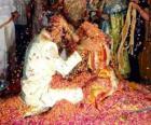 El novio y la novia en la boda hindú siguiendo la tradición