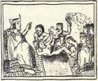 Moctezuma en el trono. El Huey Tlatoani, el gobernante del antiguo pueblo mexica o azteca