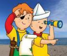 Caillou y Leo jugando a los piratas y buscando el tesoro con el mapa