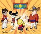 Los cuatro guerreros Xiaolin: Raimundo, Kimiko, Omi y Clay