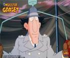 El Inspector Gadget usando uno de sus gadgets, el Gadgetocóptero o el helicóptero del sombrero