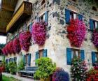 Casa en primavera con flores en las ventanas