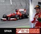 Fernando Alonso celebra su victoria en el Gran Premio de España 2013