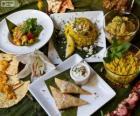 Varios platos de cocina internacional