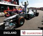 Nico Rosberg celebra su victoria en el Gran Premio de Gran Bretaña 2013