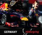 Sebastian Vettel celebra su victoria en el Gran Premio Alemania 2013