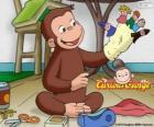 El curioso mono Jorge hace titeres