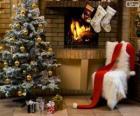 Chimenea adornada para la Navidad
