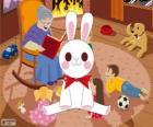 Conejo blanco de un cuento de hadas