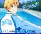 Nagisa con el chándal del club de natación de Iwatobi