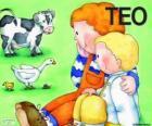 Teo y su hermana Clara con animales