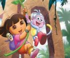Dora y Botas en una de sus aventuras