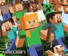 Varios personajes de Minecraft