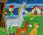 Los músicos de Bremen: un burro, un perro, un gato y un gallo