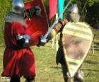 Dos soldados luchando con las espadas y los escudos
