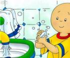 Caillou se lava las manos
