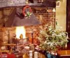 Chimenea rustica decorada para navidad